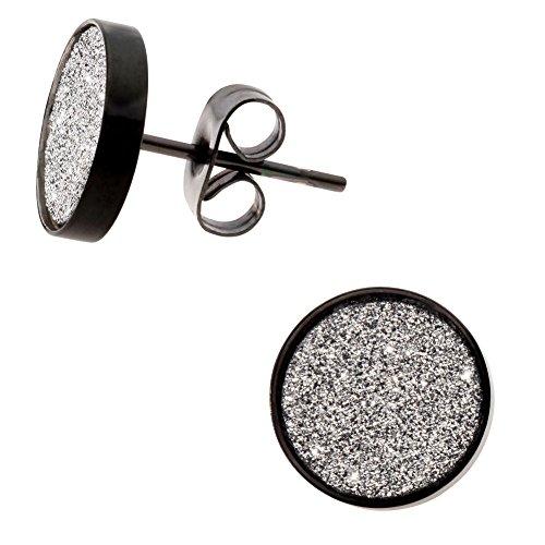 Damen Ohrstecker Ohrringe Edelstahl Schwarz 10mm flach rund mit Glitzer / Bling Effekt