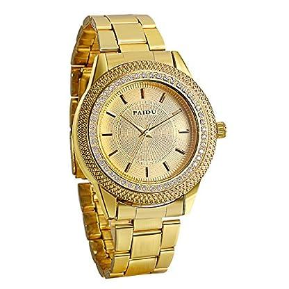 JewelryWe-Herren-Damen-Armbanduhr-Gold-Edelstahl-Armband-Business-Casual-Klassische-modische-zeitloses-Design-Analog-Quarz-Uhr-goldes-Zifferblatt-Strass-Lnette