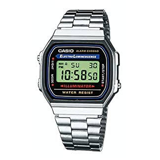 Casio-Uhr-A168WA-1YES-Silber-Schwarz-Retro-Collection-Unisex-Klassiker-Edelstahl-Armband-Verstellbarer-Verschluss