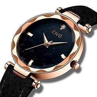 CIVO-Damenuhren-Schwarz-Schlank-Mode-Einfach-Design-Armbanduhr-fr-Frauen-Beilufig-Kleid-Analoge-Quarzuhr-mit-Rose-Goldener-Ton-Schwarzes-Zifferblatt