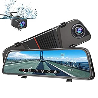 AWESAFE-Dashcam-Rckspiegel-10-Full-HD-Touchscreen-1080P-Frontkamera-und-1080P-Wasserdichte-Rckfahrkamera-Streaming-Autokamera