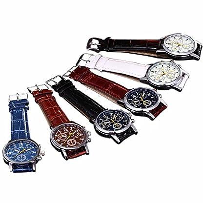 Genossen-Luxus-Mode-Kunstleder-Herren-Blue-Ray-Glas-Quartz-Analog-Uhren-Braun