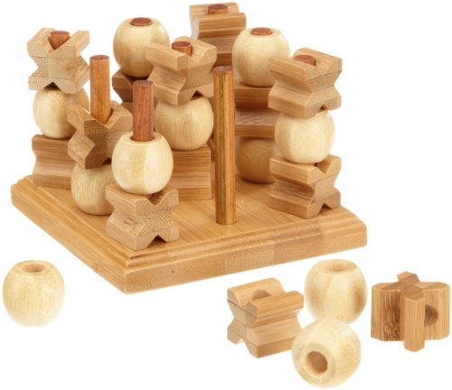 Philos-3266-Tic-Tac-Toe-3-D-Bambus-Green-Games-Strategiespiel