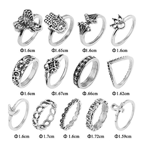 13pcs Orientalisches Vintage Fashion Midi Ringe Fingerring-Set für Damen Mädchen, Fashion Frauen Midi Ring Nagel Finger Band
