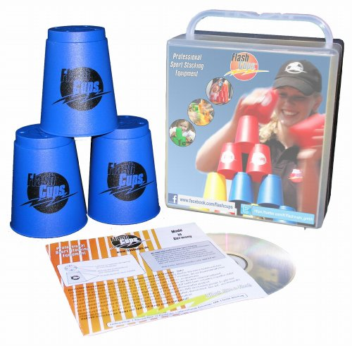 Flash-Cups-1001-Sport-Stacking-FlashCups-12-Stck-mit-BoxDVD-blau