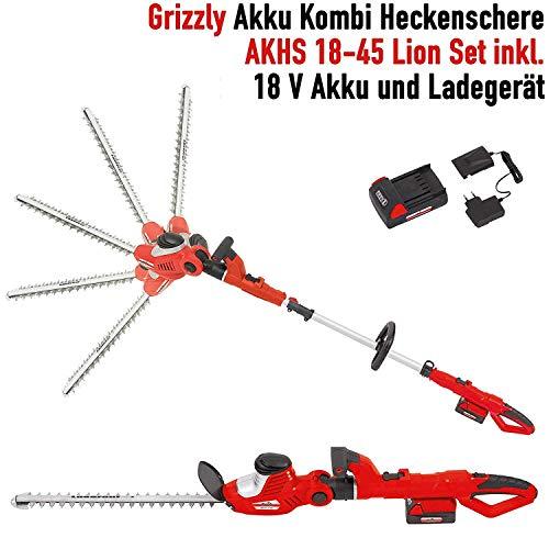 Grizzly-Akku-Kombi-Heckenschere-AKHS-18-Set-2-Heckenscheren-zu-1-Preis-18-V-Akku-45-cm-Messerlnge-4-m-Schnitthhe