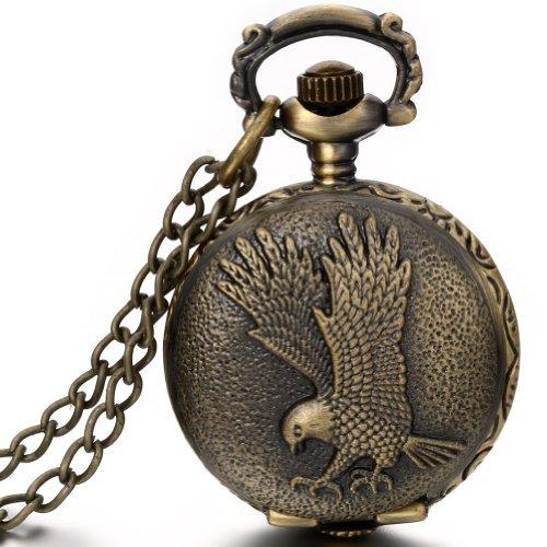 JewelryWe-Damen-Herren-Taschenuhr-Fliegender-Adler-Uhranhnger-Quartz-Legierung-Kettenuhr-Uhr-Halskette-Farbe-Bronze