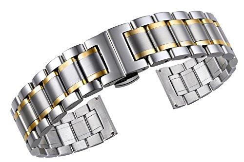 Luxus-Metall-Uhrenarmbnder-solide-zweifarbig-Silber-und-Gold-Edelstahl-mit-gekrmmten-und-geraden-Enden
