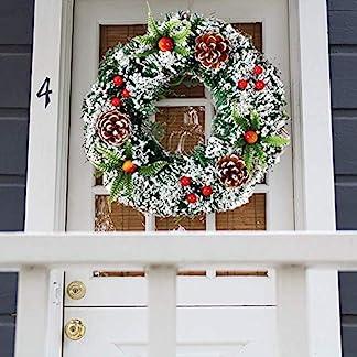 YOUNICER-203040-cm-Weihnachtskranz-DekorationTr-Knstliche-Weihnachten-RotWeihnachtssterneHolly-Cone-Ideal-Fr-AuenInnen