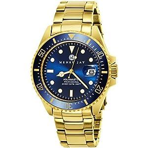 Henry-Jay-Specialty-Aquamaster-Herren-23K-vergoldet-Edelstahlarmband-Professionelle-Taucheruhr-mit-Datum