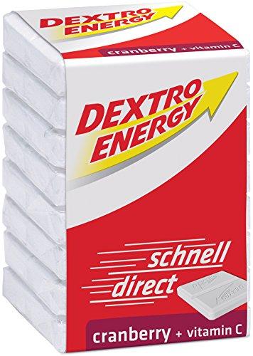 Dextro Energy Würfel Cranberry / Je 8 Dextrose-Täfelchen mit schnell verfügbarem Traubenzucker und zusätzlichem Vitamin C / 9 Packungen (9 x 46g)