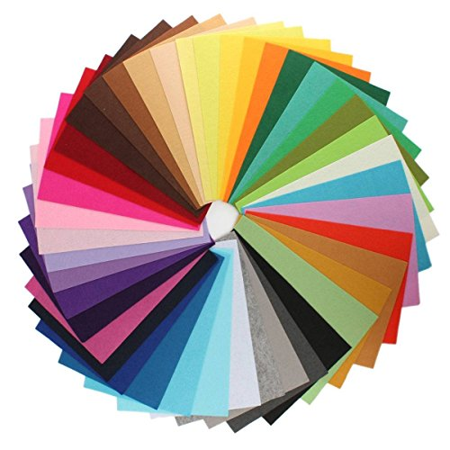 88Pcs Filzstoff Farbig Bastelfilz Steif Vliesstoff DIY Handwerk Projekte Patchwork Stoffe Filz Paket zum Nähen 10cm X 10cm X 1mm