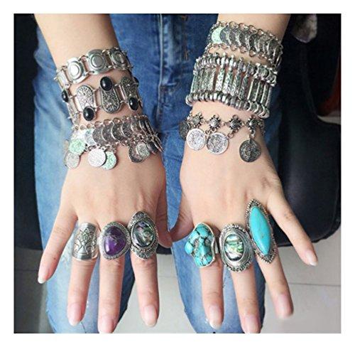 Orientalische Statement Vintage Armkette used look Armreifen Armspange Armband mit Münzen und Edelstein Diamant in Silber-Optik von DesiDo®