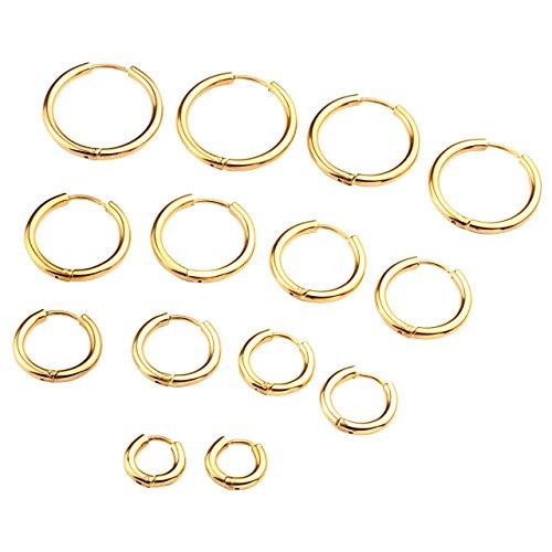 PiercingJ Unisex 3 Paare 18G 8-16mm Edelstahl Creolen Set Creolen Hinged Huggie Ohrring Ohrpiercing Silber/Gold/Schwarz