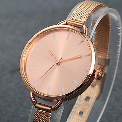LANCARDO-Herren-Damen-Rosegold-Uhr-Analog-mit-Edelstahl-Mesh-Armband