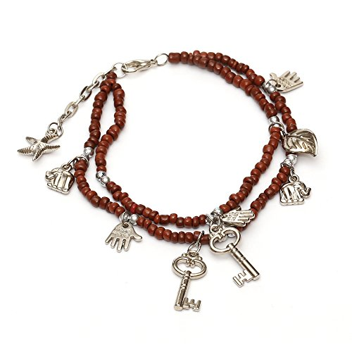Idin Fußband – Braune Perlen mit Anhängern, handgemacht (ca. 22 – 26 cm)