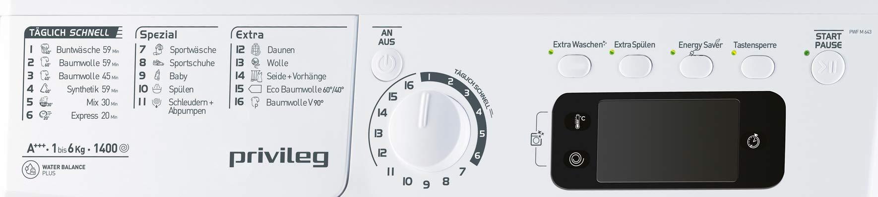 Privileg-PWF-M-643-Waschmaschine-FrontladerA-1400-UpM-6-kgMengenautomatikStartzeitvorwahlKurzprogrammeMaschinenreinigungInverter-MotorWasserschutzDaunenWolleKindersicherung