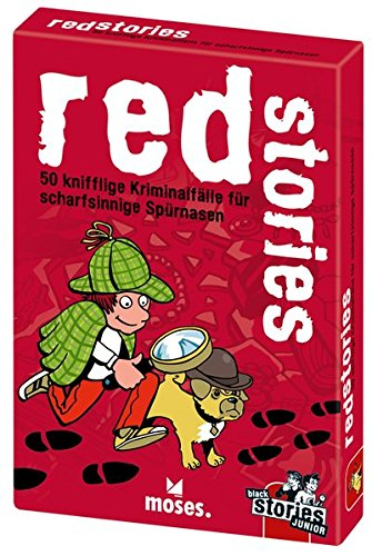 Moses-Black-Stories-Junior-Red-Stories-50-knifflige-Kriminalflle-fr-scharfsinnige-Sprnasen-Das-Rtsel-Kartenspiel-fr-Kinder
