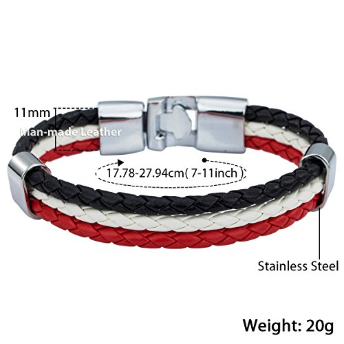 Trendsmax 11mm Breite Herren Damen 3 Strand Geflochtenen Seil Surfer Leder Armband Rot Weiß Schwarz