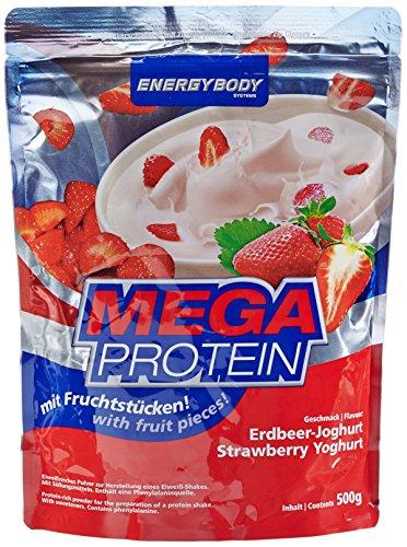 Energybody Mega Protein m. Fruchtstücken, Erdbeer-Joghurt, 1er Pack (1 x 500 g Beutel)