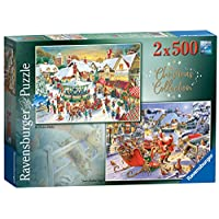 Ravensburger-Market-Santas-Christmas-Supper-2x-500pc-Jigsaw-Puzzle-Englisch-Version-15031