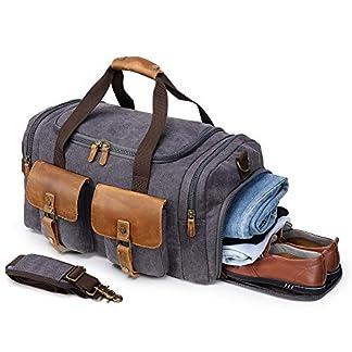 Canvas-Weekender-Reisetasche-Leder-Reisegepck-Duffle-Bag-Handgepck-Tasche-Leather-Wasserdicht-fr-Herren-Damen