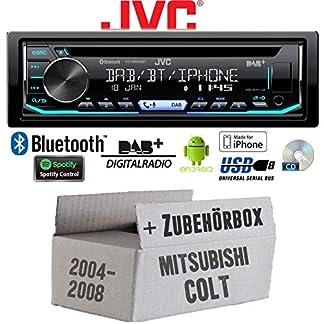 Mitsubishi-Colt-bis-2008-Autoradio-Radio-JVC-KD-DB902BT-Bluetooth-DAB-CD-Spotify-USB-Android-iPhone-Einbauzubehr-Einbauset