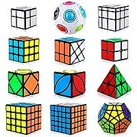 Aiduy-Zauberwrfel-Cube-Set-12-Stck-Dreieck-Pyraminx-Speedcube-2×2-3×3-4×4-5×5-Pyramide-Speed-Cube-Megaminx-Zauberwrfel-Mirror-Cube-Rainbow-Ball-Cube-Skew-Ivy-Cube