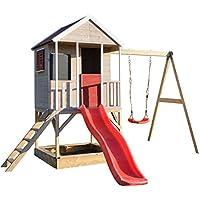 Wendi-Toys-Kinder-Spiel-Haus-auf-Plattform-mit-Schaukeln-Holz-Garten-Spielhaus-ffnen-Typ-mit-Rutsche-Schaukel-Leiter-Balkon-Spielzeugregal-Fensterlden-Tafel-Sandkasten