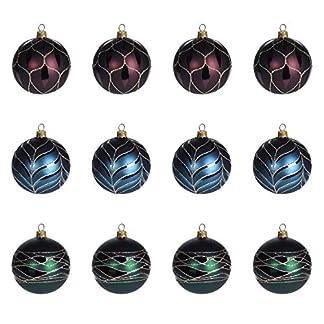 Multistore-2002-12-Stck-Weihnachtskugeln-6cm-3-Sorten-Grn-Blau-und-Rot-Glaskugeln-Weihnachtsbaumkugeln-Christbaumkugeln-Christbaumschmuck-Baumschmuck-Dekokugeln