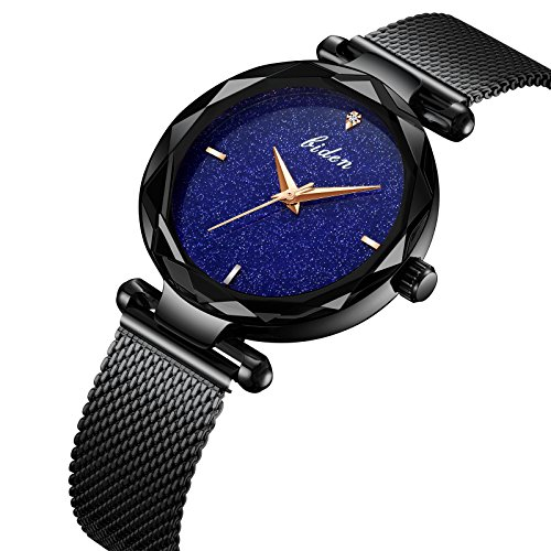 Frauen-Uhr-Frau-fashion-Luxus-Handgelenk-Uhren-fr-Damen-Kleid-Business-Casual-Wasserdicht-Quarz-Armbanduhr-fr-Frau-mit-Schwarz-Edelstahl-Mesh-Band-und-Blau-Sub-Zifferblatt