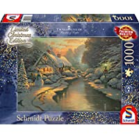 Schmidt-Spiele-Puzzle-59492-Thomas-Kinkade-Am-Weihnachtsabend-Limited-Edition-1000-Teile-bunt
