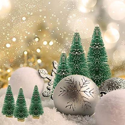 DECARETA-Decarta-35-Stck-Sisal-Bume-Mini-grne-Flaschenbrsten-Bume-mit-Holzsockel-knstliche-Schnee-Frost-Bume-ideal-fr-Weihnachten-DIY-Handwerk-Party-Dekoration-4-Gren