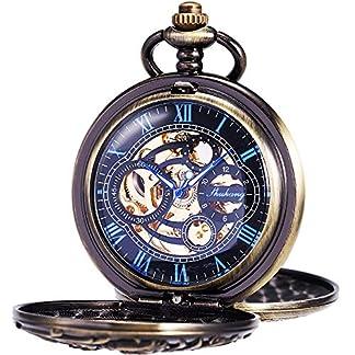 ManChDa-Herren-Taschenuhr-Double-Hunter-Retro-SchwarzSilberGold-Zifferblatt-mit-rmischen-rmischen-Ziffern-Skelett-Mechanisches-Goldenes-Uhrwerk-mit-T-Bar-Kette-Geschenkbox