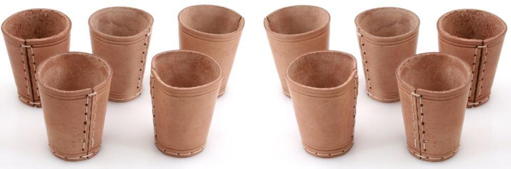 Ludomax-325134-Wrfelbecher-10-Stck-Bundle-Echt-Leder-genht-ca-9cm-natur