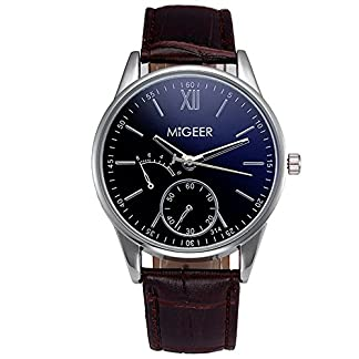 Souarts-Herren-Armbanduhr-Blu-ray-Einfach-Stil-Casual-Analoge-Quarz-Uhr-Braun