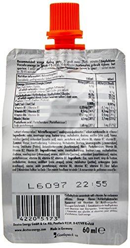 Dextro Energy Liquid Gel Orange / Flüssiges kohlenhydratreiches Konzentrat-Gel mit Vitamin B-Komplex für Ausdauer- & Leistungs-Sportler – leicht trinkbar / 6 Beutel (6 x 60ml)
