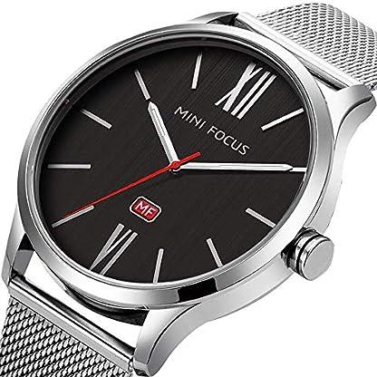 Uhren-Herren-dnn-Mesh-Edelstahl-Wasserdicht-Analog-Quarz-Armbanduhr-fr-Mnner