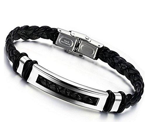 Jstyle Schmuck Edelstahl Herren allergiefrei Herrenarmband Lederarmbänder Leder breit Armband best Freund schwarz für Männer