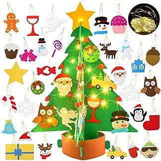 Bageek-Filz-Weihnachtsbaum-KinderFilz-Weihnachtsbaum-Set-Dekoration-Weihnachtsbaum-aus-Filz-Weihnachtsbaum-Mini-DIY-Weihnachtsbaum-Wand-Dekor-mit-Hngenden-Seil-Fr-Kinder
