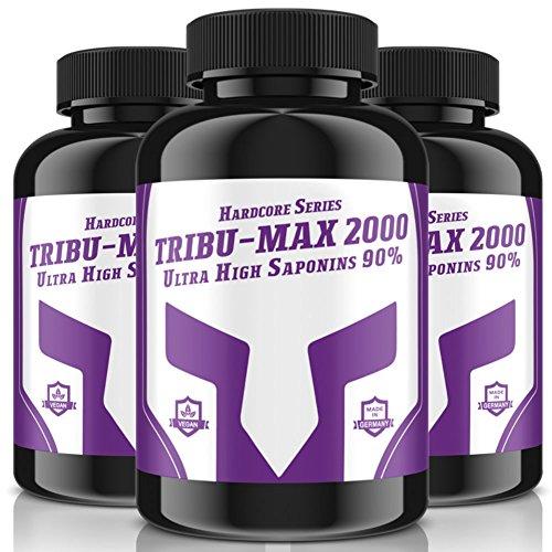 3x TRIBU-MAX-2000 = 720 Tabletten für 180 Tage Versorgung | Hardcore Series Hochdosiert | Ultra High Saponin 90% | 100 % Vegan – Muskelaufbau + Potenz | Premium Qualität made in Germany