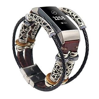 Altsommer-Armband-fr-Fitbit-Charge-3-Ersatzarmband-Vintag-Leder-mit-Klassische-Edelstahlschnalle-UhrenarmbnderReplacement-Lederarmband-Schnellverschluss-fr-Herren-Damen