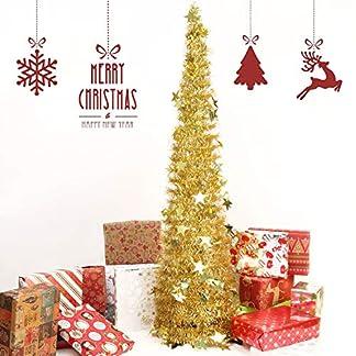 FunPa-Weihnachtsbume-394ft-Lametta-Weihnachtsbaum-Pailletten-Glnzender-Christbaum-Erschwinglicher-Zusammenklappbarer-Knstlichem-Baum-fr-Innen-Weihnachts-Dekoration-mit-Christbaumstnder