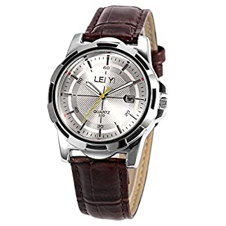 sibosun-Datum-Kalender-Display-Herren-Handgelenk-Sport-Armbanduhr-Wei-Zifferblatt-Business-Casual-Braun-Lederband-Quarz