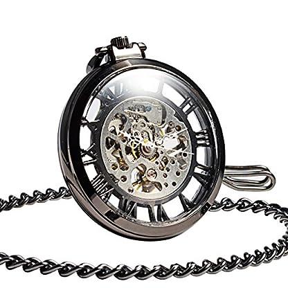 Taschenuhr-Steampunk-Mechanische-ManChDa-Offenes-Gesicht-Skelett-Zifferblatt-Rmische-Ziffern-Groe-Gre-Hand-Winding-mit-Kette-Geschenk-Box