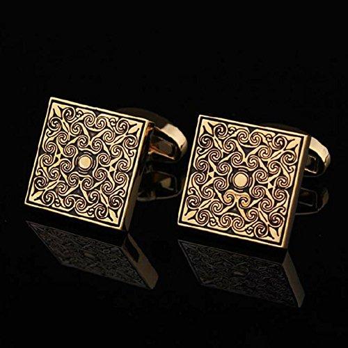 Gute Qualität Männer Manschette Links Jahrgang Herren Hochzeit Party Geschenk Klassisch Gitter Manschettenknöpfe Graviertes Gold