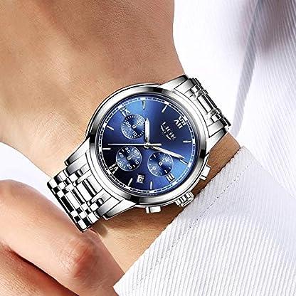 LIGE-Herren-Wasserdicht-Edelstahl-Armband-Analog-Quarz-Uhr-mit-Blau-Zifferblatt-Datum