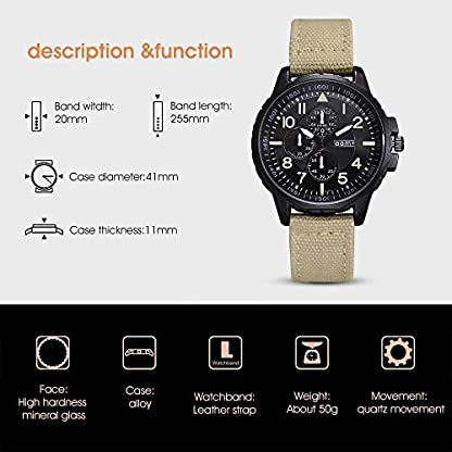 Godagoda-Herren-Armbanduhr-Analog-Lederarmband-Wasserdicht-Sportuhr-Quarz-Uhren-mit-DREI-Klein-Zifferblatt