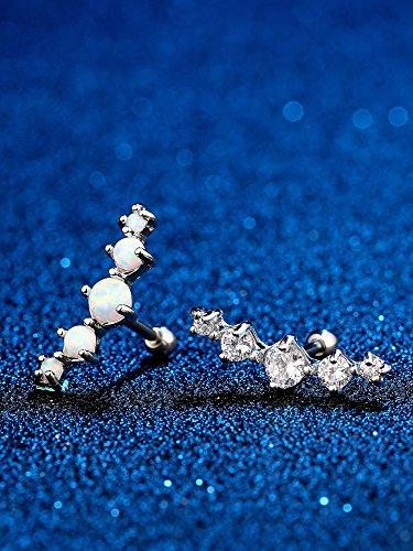 2 Stück 16 Gauge Chirurgenstahl Knorpel Stud gebogen Synthetische Opal CZ Ohrstecker Tragus Helix Ohrring Piercing für Damen Mädchen