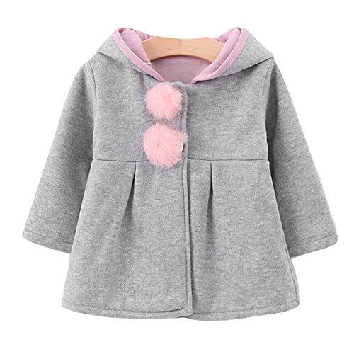 Kinder Baby Kleinkind Mädchen Kaninchen-Ohren Winterjacke mit Kapuze Warme Kleidung 73-100cm